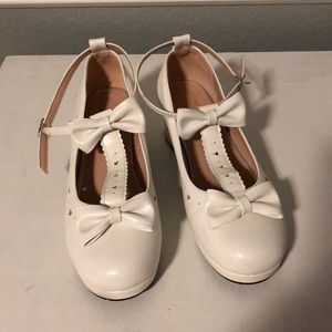 Shoes - White bow t-strap heels